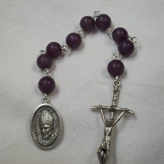 Blessed Pope John Paul II Chaplet with Purple Buri Beads