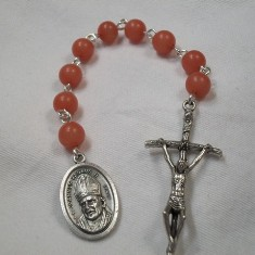 Blessed Pope John Paul II Chaplet with Peach-colored Buri Beads