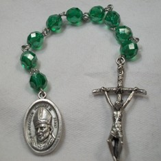 Blessed Pope John Paul II Chaplet with Fire-polished Green Glass Beads