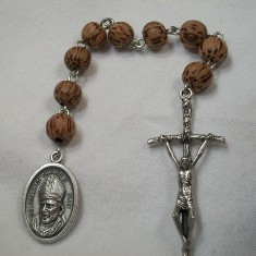 Blessed Pope John Paul II Chaplet with Light Palmwood Beads