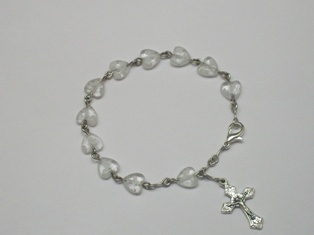 Child's Rosary Bracelet with Heart-shaped Beads