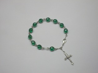 Fire-polished Green Bead Rosary Bracelet