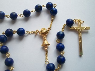 First Communion Rosary with Dark Blue Dyed Jasper Beads