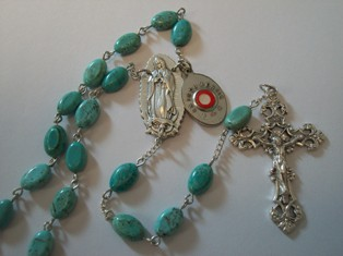 Guadalupe Turquoise Rosary with Relic