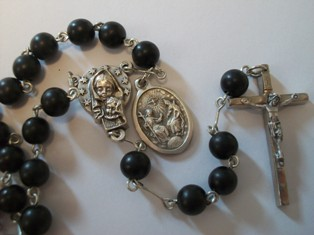 Confirmation Rosary with Ebony Wood Beads