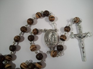 Coco Bead Rosary with Lourdes Water