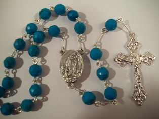 Turquoise Bead Rosary with Lourdes Water