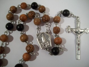 Quad Wood Bead Rosary with Fatima Water